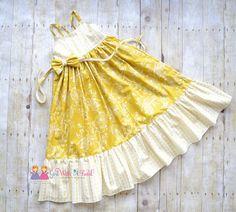 Girls Maxi Dress Yellow Dress Summer Dress by GirlWithATwirl