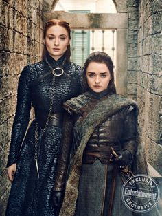 Gorgeous Game of Thrones portraits from season 8 - Sansa Stark (Sophie Turner) and Arya Stark (Maisie Williams) Dessin Game Of Thrones, Arte Game Of Thrones, Game Of Thrones Facts, Game Of Thrones Arya, Game Of Thrones Characters, Game Of Thrones Pictures, Liam Cunningham, Entertainment Weekly, Arya Stark