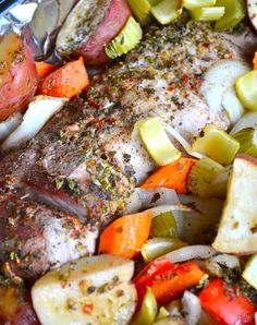 Cajun Roasted Pork Loin and Vegetables: butter, red pepper flake, oregano, thyme, mustard and garlic for sauce - melt in your mouth meat & veggies.