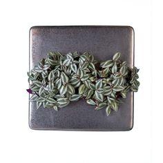 FlowerBox Ceramic 35, silber mit Tradescantia (Dreimasterblumen)