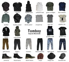 Capsule Wardrobe for Tomboys. How to combine only 32 pieces of clothing to create a capsule wardrobe. This is a tomboy inspired wardrobe.