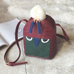 Pompon Cartoon Crocodile Embossed Crossbody Bag #>=#>=#>=#>=#> Click on the pin to check out discount price, color, size, shipping, etc. Save and like it!