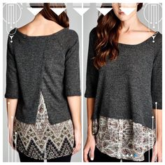 "HP 12/12 & 1/10CUTE 3/4 SLEEVE ""2-FER"" TOP! Adorable top with faux layering look. In charcoal with multi bottom ""layer"". Boat neck. Polyester/spandex blend. Precious!  Made in USA PLEASE DO NOT BUY THIS LISTING! I will personalize one for you.  SMALL: bust 38"" tla2 Tops"