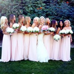 love the long dresses but the color is too light, they all look like brides....that's a no no