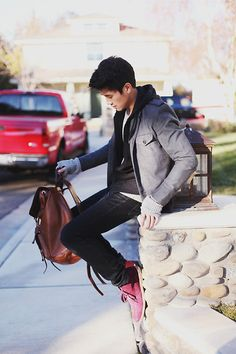 H Military Blazer, H Sleeveless Hoodie, Armani Exchange Sweater, Neoblue Jeans Black Jeans, Purple Chukka Boots, Coach Bleecker Leather Backpack | My Good Friend (by Peter Adrian) | LOOKBOOK.nu