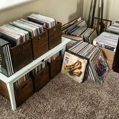 """I've been asked several times for shot of the whole #vinyl collection. Here it is in all it's messy glory. Spending today organizing, alphabetizing and putting the wax in it's new home. Lots of good memories here. """"After"""" pics coming soon."""
