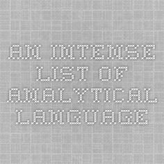 An intense list of analytical language