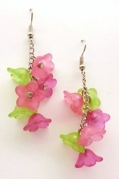 Pink and Green Dangle Lucite Earring by PyroLilly on Etsy