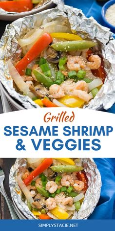 Grilled Sesame Shrimp & Veggies - This summer grilling recipe is a triple whammy – it's easy to prep, simple to cook and fast to clean up afterwards. Your family will love these individual foil packets filled with veggies, shrimp and a mouthwatering sesame sauce.