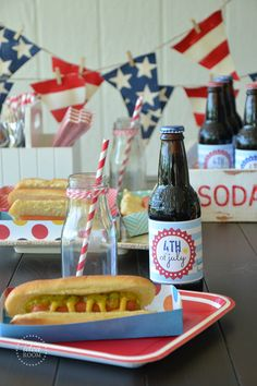 Patriotic Hot Dog Trays with free pattern template   theidearoom.net