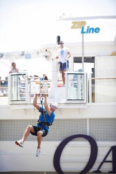 Fly down the zip line onboard Oasis of the Seas! #cruising #RoyalCaribbean. Royal Caribbean Cruise Lies. Contact rick@rlstravel.com for more information and to book that cruise.