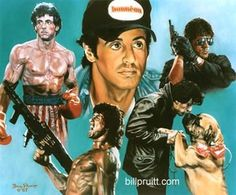 Sylvester Stallone Rocky Balboa Rambo Cobra art print signed and dated Bill Pruitt Sylvester Stallone, Stallone Cobra, Stallone Rocky, Chuck Norris, Bruce Willis, Keanu Reeves, Arnold Schwarzenegger, John Rambo, Movie Stars