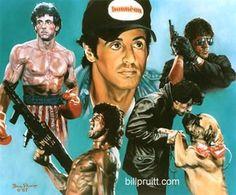 "Sylvester Sly Stallone Rocky Balboa Rambo Cobra art print 12""x14"" Bill Pruitt"