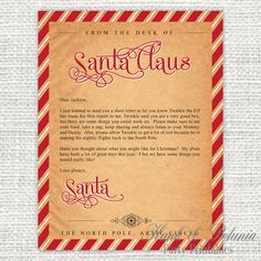 This printable letter from santa is for adults only it jokes about customizable printable letter from santa to your child 700 via etsy spiritdancerdesigns Choice Image