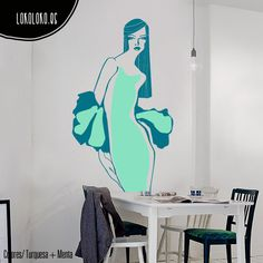 #Vinilodecorativo de dos colores inspirado en el mundo de la moda / 2 colors #wallsticker inspired by fashion world
