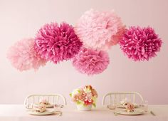 Want to learn how to make DIY tissue paper pom poms? Check out this simple tutorial! DIY pom poms make a great addition to any party or get together. Tissue Paper Pom Poms Diy, Tissue Paper Flowers, Paper Poms, Paper Balls, Pom Pom Decorations, Party Decoration, Decoration Crafts, Paper Flowers For Sale, Paper Flower Ball