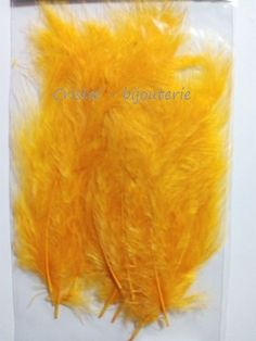 ♥PLU2-11♥ 10 PLUMAS NATURALES TEÑIDAS  FEATHER COLOR AMARILLOS OSCURO 3-15 CM♥