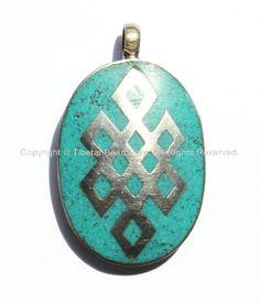 Tibetan Endless Knot Pendant with Turquoise Inlay - WM270