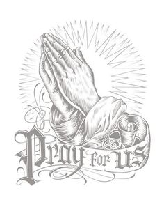 Cross Tattoos With Praying Hands Drawing Images & Pictures Lowrider Drawings, Arte Lowrider, Lettrage Chicano, Chicano Tattoos, Tatoo Art, Tattoo Drawings, Hand Drawings, Praying Hands Drawing, Praying Hands Tattoo Design