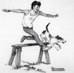 """""""Future Olympic Star,"""" Norman Rockwell, 1976. Pencil on poster board. Norman Rockwell Museum Digital Collections. Collection of the Franklin Mint. ©NRELC: Niles, IL."""