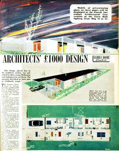 Mid-century modern home plan prize winner, architect division. 1954.    Jack Lilly, Bernard H Joyce, David Brunton