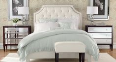 A glamourous bedroom from Ethan Allen. Not sure my husband would ever allow something so girly, but it's a nice inspiration look.