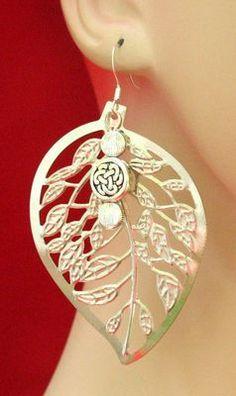 Celtic Knot Silver Skeleton Leaf Earrings Handmade