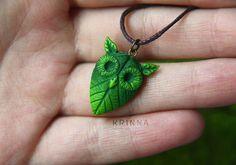 Personalizada verde frondoso buho polímero por KrinnaHandmade