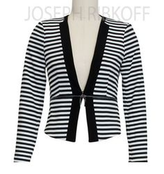 Joseph Ribkoff Jacket | Black and White Stripes | Zip Detail. New 2016 Collection at ASPIRATIONS.