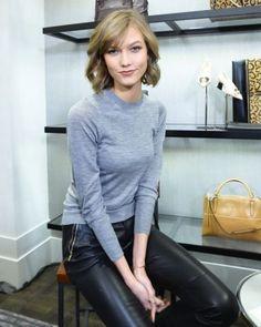 simple grey sweater   leather / love / karlie kloss