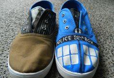 Doctor Who painted canvas shoes via Etsy