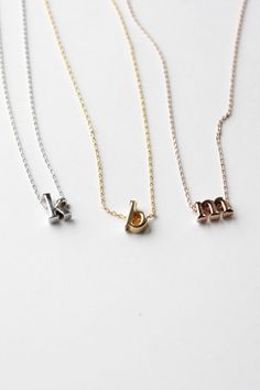 Initials Necklace Color -14k Gold Letter - s $14.95