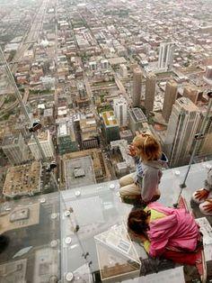 Walk on Skydeck of Willis Tower  Chicago, Illinios