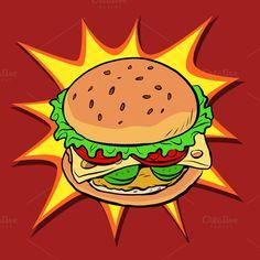 Burger fast food retro pop art by rogistok on (fast food art) Fiesta Pop Art, Burger Drawing, Pop Art Food, Pop Art Party, Desenho Pop Art, Pop Art Images, Pop Art Wallpaper, Pop Art Design, Fast Food