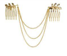 Cheveux peignes twin avec des chaînes /& glands-bijoux nuptiale décoration pin Boho-UK