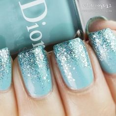 Blue Ombre Glitter nail art design ~ Dior: Saint Tropez (is a vibrant turquoise creme) with Nails Inc. Hammersmith glitter on the tips. ***I wonder if this is how Elsa's nails look? Fabulous Nails, Gorgeous Nails, Love Nails, How To Do Nails, Fun Nails, Sparkle Nails, Perfect Nails, Amazing Nails, Wedding Day Nails