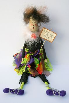 I Don't Know How I Got Over the Hill...Without Ever Getting to the TOP! Whimsical Doll by Rags2Wishes on Etsy