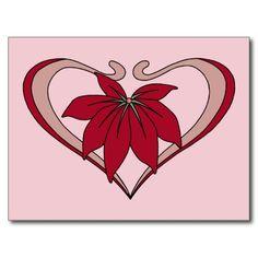 Art Nouveau heart and flower love amaranth red Postcards