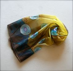 Handpainted silk scarf (yellow light and dark blue brown colors), made to order door SilkHome op Etsy https://www.etsy.com/nl/listing/203561774/handpainted-silk-scarf-yellow-light-and