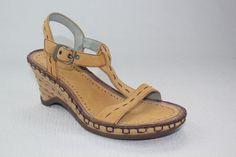 Indigo by Clarks Brown Leather T-Strap Wedge Women  Sandals Size 6 1/2M #IndigobyClarks #TStrap