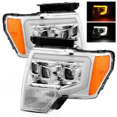 For 09-14 Ford F150 Switchback DRL/Signal LED Tube Chrome Projector Headlights #RacerInnovation