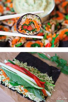 #Raw #vegan #sushi! Riceless sushi is next level stuff. Check out this recipe for Zucchini Rice Sushi with Mango Ginger Sesame Sauce! (Raw Vegan Recipes)