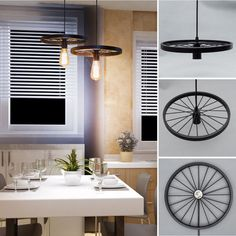Retro DIY Loft Bicycle Wheels E27 Edison Pendant Lights Ceiling Lamp Fixture #Wanunion #Modern