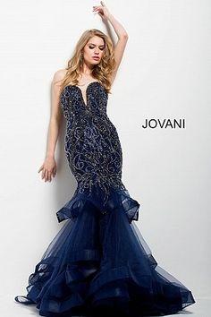 daab6c2d5a Black Strapless Plunging Neckline Embellished Mermaid Dress 36994