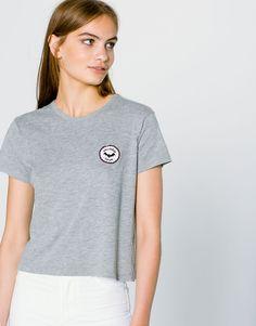 Pull&Bear - femme - t-shirts - t-shirt empiècement chauve-souris - gris vigoré - 09244397-I2016