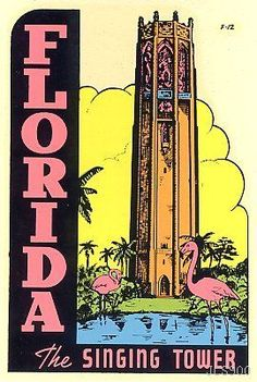 Vintage Singing Tower Florida Flamingo Souvenir Original Travel Water Decal Art