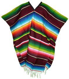 Serape Mexican Poncho - Burgundy