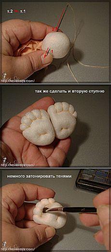 Техника изготовления кукол из колготок — Ножки. Автор Елена Лаврентьева. | Своими руками
