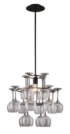 Turn your wine glasses into an attractive lighting fixture with the vintage chandelier. Made from wrought iron, this item is finished in dark rust and includes 16 wine glasses.