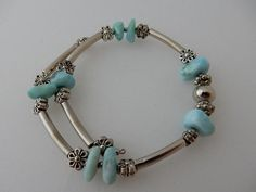 Larimar and Pewter bracelet.Hand made in the Dominican Republic